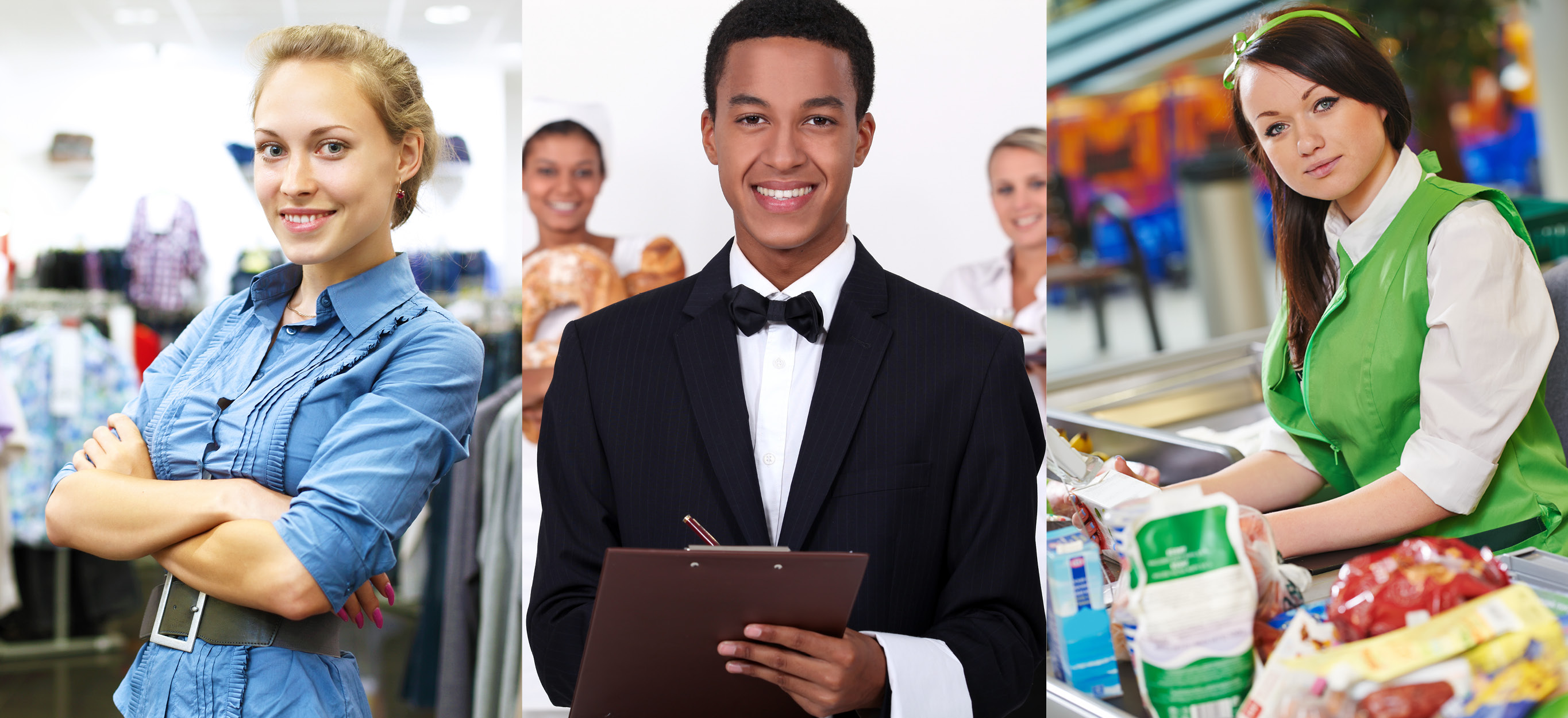 Image has 3 panels: a female retail worker in a clothing store, a male waiter holding a clipboard, & a female grocery cashier.