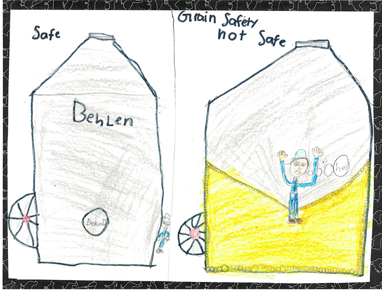 Kids drawing of how to be safe around a grain bin